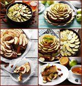 Collage of homemade apple pie served on table