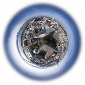 Riga old town skyline view from above, 360 degree miniplanet (Elements of this image furnished by NA