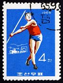 Postage Stamp North Korea 1965 Javelin, Sport