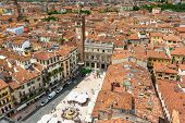 Aerial view of Piazza delle Erbe in center of Verona