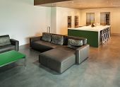 Modern living room, interior, house in cement
