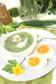 Green Herb Soup With Eggs