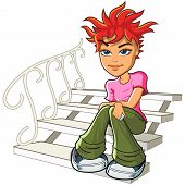 Redhead Young Woman Sitting On The Stairs.