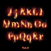 Fire Burning Latin Alphabet Letters. Set Vol.2 J-R