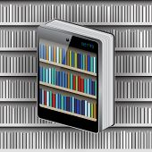 book with cover from smartphone on library background