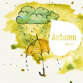 stock photo of rainy season  - Rainy Season Background With Umbrella And Rain Drops - JPG