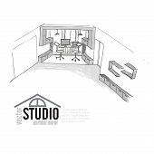 pic of interior sketch  - Home Office Interior Sketch - JPG