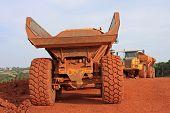 foto of dumper  - dump truck on a road construction site - JPG