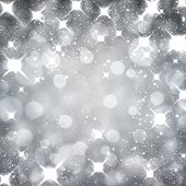 Silver starry christmas background. Greeting card. Vector illustration.