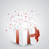 Opened 3d realistic gift box with red bow and confetti. Vector illustration.