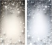 Shiny starry vertical christmas banners. Vector Illustration.