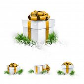 Collection of 3d christmas gift boxes with satin golden bows. Realistic vector illustration.