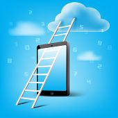 ladder to cloud storage through mobile smart phone concept art