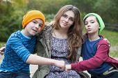 Teenage Girl And Two Boys