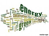 Vector eps concept or conceptual 3D abstract green ecology or energy and conservation word cloud text on white background