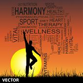 Vector concept or conceptual black health text word cloud as tree and grass, a man jumping on sunset