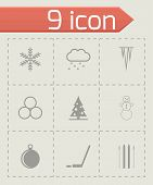 Vector black winter icon set