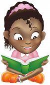 Постер, плакат: Иллюстрация симпатичная черная девочка чтение книги