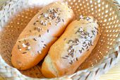 Bread rolls with salt and caraway