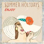 girl in a straw hat with a flower. summer holidays. vector illustration