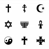 image of triskele  - Vector religious symbols icon set on white background - JPG