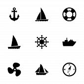 foto of viking ship  - Vector ship and boat icon set on white background - JPG