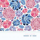 Summer flowers torn paper horizontal seamless background