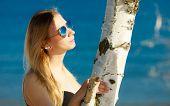 Summer Vacation. Girl In Bikini Standing On Beach