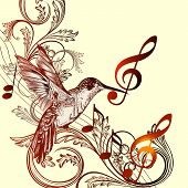 Beautiful Music Background With Hummingbird And Treble Clef