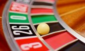 picture of turn-up  - number twenty six at the roulette wheel in casino close up details - JPG