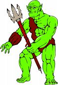 picture of trident  - Cartoon style illustration of an orc warrior standing holding a trident viewed from front on isolated white background - JPG
