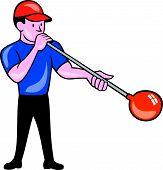 Glassblower Glassblowing Isolated Cartoon