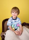 Child With Easter Eggs At  Home