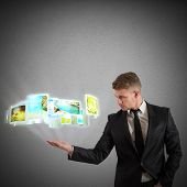 Businessman projects destinations