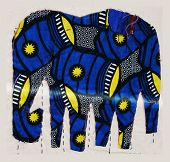 fabric Applique With Blue Elephants