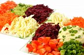 Salad Of Different Kinds Vegetables With Sour Cream