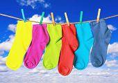 Colorful Socks Hanging