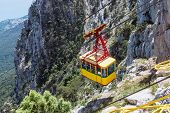 Ropeway In Yalta Leading To The Top Of Ai-petri Mountain
