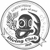Diving club grayscale label