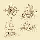 stock photo of kraken  - elements for design antique maps on a light background - JPG