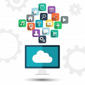 Cloud computing. Desktop computer and apps icons.