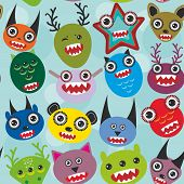 Cute cartoon muzzle Monsters seamless pattern on blue background. Vector