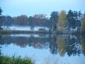Autumn landscape by the lake, southern Bohemia, Czech Republic