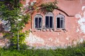 Three Historical Derelict Manor Ruins Windows And Wall