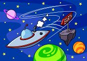 foto of planet earth  - Funny illustration of a flying saucer en route to the Earth - JPG