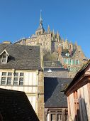 foto of mont saint michel  - View up to the Monastery of Le Mont Saint Michel - JPG
