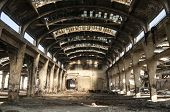 Old abandoned railway plant inside
