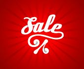 Sale letters poster on red radial background, vector illustration