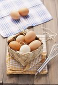 Fresh Organic Eggs In A Basket