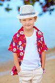 Cute Fashionable Boy On Summer Beach